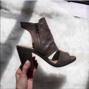 Distressed Mocha Cut Out Peep Toe Bootie